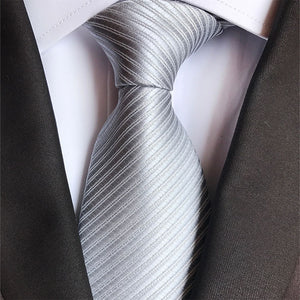 8cm Man Classic Striped Silver Neckties