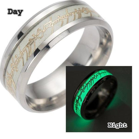 Stainless steel The Lord Of One Ring Fluorescent Glowing Logo Finger Ring
