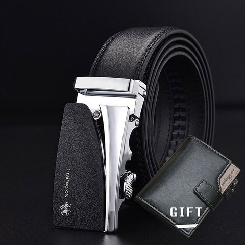 High Quality Metal Belt High End Luxury Automatic Buckle and Classic Simple Wild Wallet