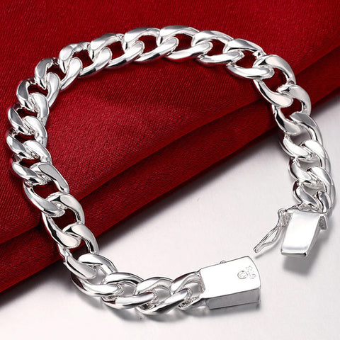 925 Sterling Silver 10mm Chain Sideways Square Buckle Bracelet For Men