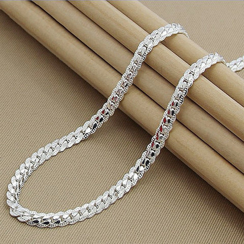 925 Sterling Silver 6mm Full Sideways Necklace for Woman