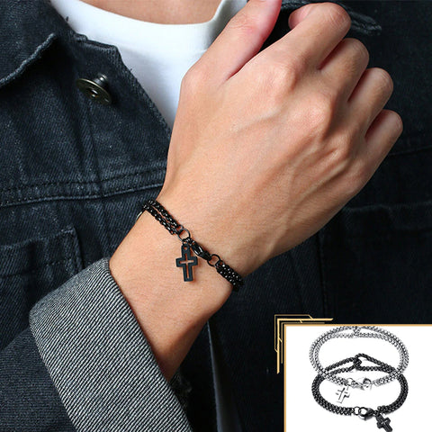 Simple Layered 3mm Rolo Chain Bracelets With Cross for Men