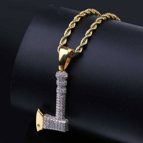 Ax Copper Gold Color Plated Iced Out Micro Pave Cubic Zircon Pendant Necklace