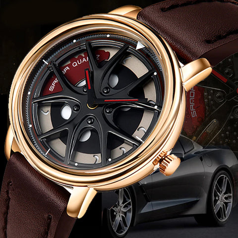 Men Car Wheel Fashion Waterproof Sports Quartz Watch Leather Band