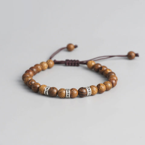 Tibetan Buddhist Wood Beaded Carved Handmade Bracelet