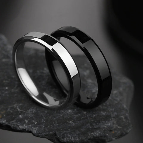 Simple Smooth Black Stainless Steel Ring