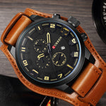 Luxury Leather Army Military Quartz Men Watch Water Resistant