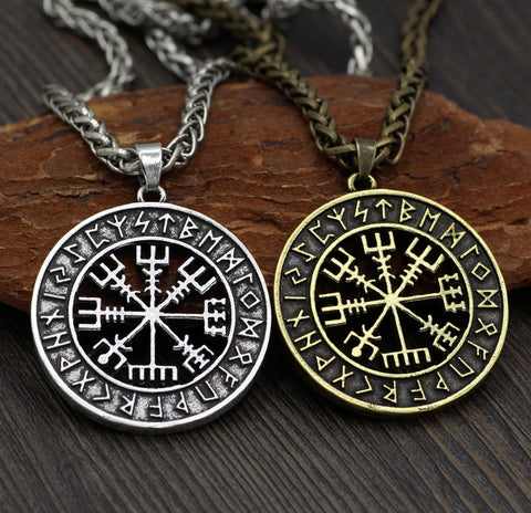 Viking Icelandic Vegvisir Helmet Horror In Runic Circle Pendant Necklace