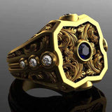 Vintage Luxury Russian Exquisite Pattern Carving Large Ring