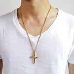 "Stainless Steel Bullet Cross Pendants Collares 24"" Chain"