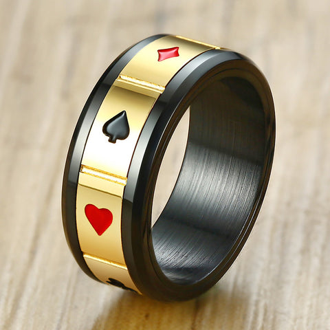 Fortune Luck Men's Peace Wisdom Love Charm Spinner Ring