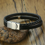 Unique Sew Lines Genuine Leather Bracelets for Men Women