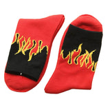 Unisex Hip Hop Fashion Design Flame Pattern Crew Socks