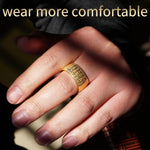 Carved Ancient Buddhism Scripture Supernatural Signet Stainless Steel Rings