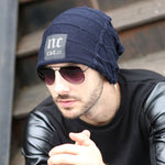 Winter new knitted men's hats plus velvet thickening outdoor warm