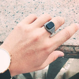 Black Stone Sterling Silver Open Size Vintage Ring