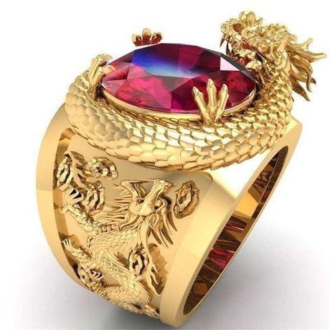 Fashion Male Engraving 3D Stereo Domineering Dragon Ring