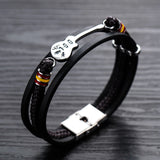Luxury Punk Guitar Geometry Multilayer Braided Leather Bracelet