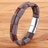 Braided Interlocking & Stitching Genuine Leather Bracelet Stainless Steel Magnetic Clasps For Men