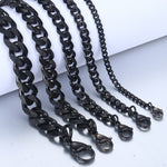 Men's Bracelet Black Stainless Steel Cuban Link Chain