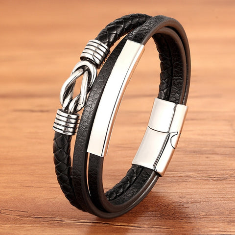 Luxury Men's Stainless Steel Leather Bracelet Multi-layer Splicing Combination