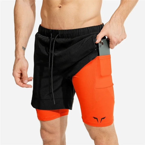 2020 NEW Men's 2 in 1 Breathable Sport Running Short Double Layer
