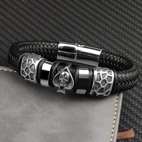 Braided Leather 316l Stainless Steel Charm Male Bracelets Spades Skull