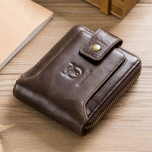 Mens Fashion Genuine Leather RFID Slim Zipper Wallet