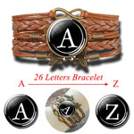 26 Letters Personality Multilayer Weaving Rope Custom Black Bracelet