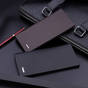 Men's Business Luxurious Quality Micro-fiber Synthetic Leather Long Thin Wallet