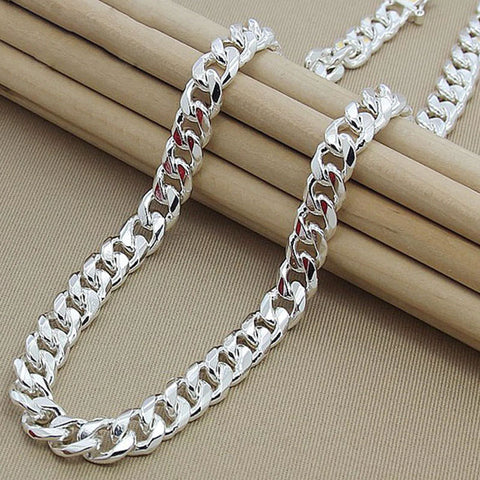 925 Sterling Silver 10mm 22 Inch Side Chain Atmospheric Statement Men Necklace