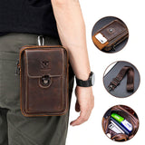 100% Crazy Horse Leather Male Waist Pack