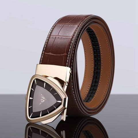 New Design Luxury Fashion High Quality Genuine Leather Belt Automatic Buckle for Men