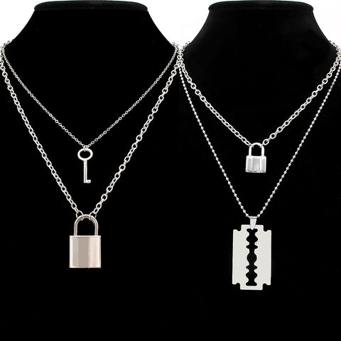 Hip Hop Double Layer Pendant Necklace