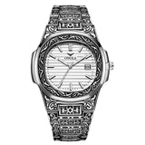 Fashion Creative Design Retro Carved Band Quartz Wristwatch Full Steel Calendar Waterproof