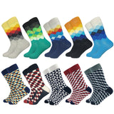 New Fashion Design Plaid Colorful Happy Business Party Dress Cotton Socks