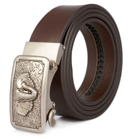 Men's Leather Business Belt Highgrade Genuine Cowhide Vintage Luxury Fashion Elephant Head Automatic Buckle