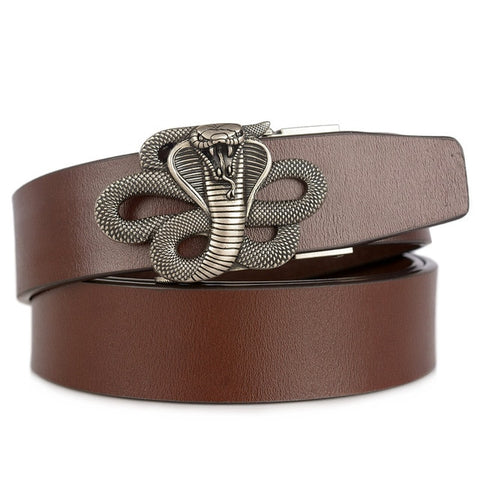 Men's Leather Business Belt Highgrade Genuine Cowhide Vintage Luxury Fashion Snake Cobra Automatic Buckle