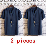 Men 2020 Summer Cotton Linen Short Sleeve V-neck Shirt