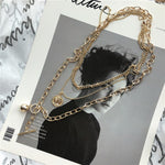 4 Styles New Trendy Metal Ball Coin Cross Pendant Multi layer Punk Design Long Chain Necklace