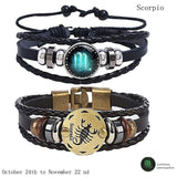 Luminous Multi-layer Leather 12 Constellations Bracelet