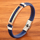 Multi-color Rectangular Combination Blue Leather Classic Men's Bracelet