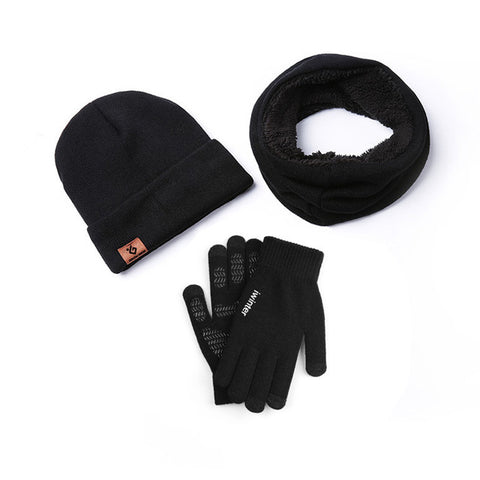 Set Gloves Scarf Beanies Thick Windproof For Touchscreen Anti Slip