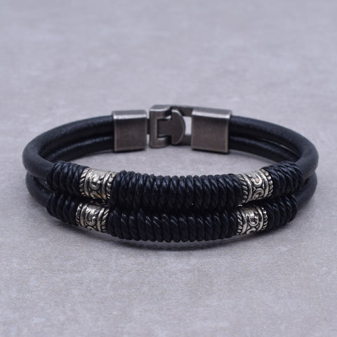 Vintage Men Handmade Winding Rope Double Black Leather Wristband