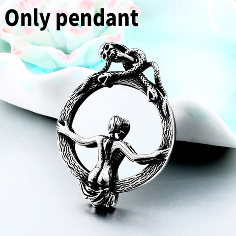 Skull Double Snake Wrap Magic Mirror Sexy Naked Woman Necklace   Pendant