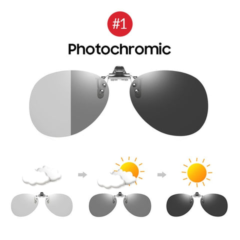 Aviation Style Flip up Clip on Photochromic Polarized Sunglasses