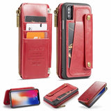 Detachable Leather wallet Case for iPhone X Zipper Pocket Credit Card Slots