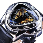 Steampunk Fashion Triangle Golden Skeleton Movement Mysterious Men Automatic Mechanical Wrist Watches