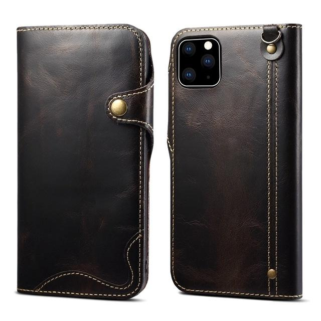 Luxury Real Genuine Leather Flip Cover Case For iPhone 11 Pro Max