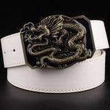 Men's Leather Belt with Dragon Totem Metal Buckle